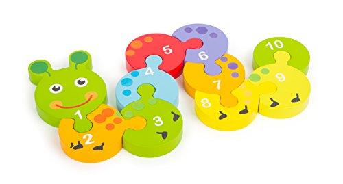 small foot 10717 puzzel van bont hout in rupsvorm, tien genummerde puzzelstukjes, bevordert het begrip van cijfers, fijne motoriek en concentratie