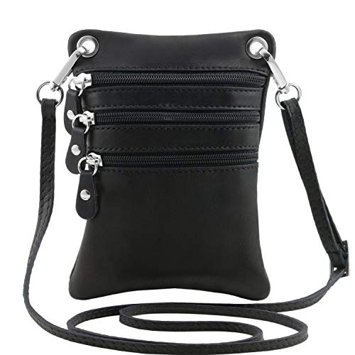 Tuscany Leather TLBag Tracollina in pelle morbida Nero