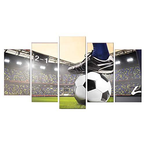 QJXX zeildoek kunstwerk 5 stuks sneakers met een voetbal groen stadion canvas print afbeelding op canvas sport kunst voor jongenskamer.