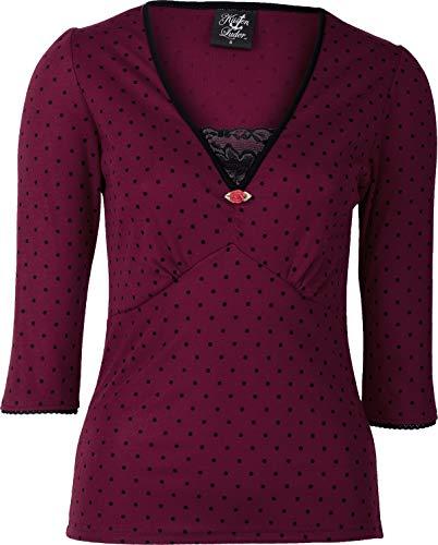 Küstenluder Damen Oberteil Labieba Lace Spitzen Punkte Shirt (4XL, Weinrot mit schwarz)