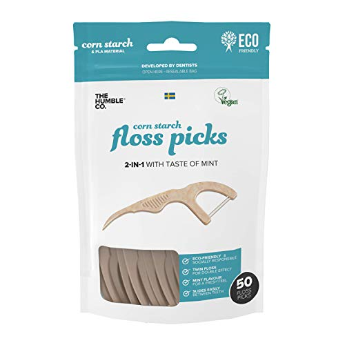 The Humble Co. Natural Dental Floss Picks (200 count) - Vegan, Eco Friendly, Sustainable Flossers for Zero Waste Oral Care - Helps Remove Plaque and Gives a Fresh Feel (Fresh Mint/Double Thread)