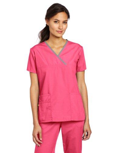 WonderWink Women's Scrubs Charlie 5 Pocket Y-Neck Wrap Top, Hot Pink, Small