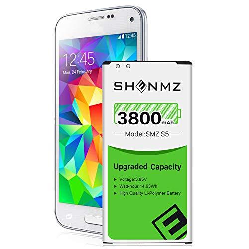 Galaxy S5 Battery, 3800mAh [Upgraded] SHENMZ Li-ion Replacement Battery for Samsung Galaxy S5 EB-BG900BBU SM-G900H SM-G900A SM-G900TR SM-G900P SM-G900T SM-G900R - 18 Months Warranty