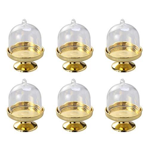 BESTonZON 6pcs Mini Forma de Soporte de Pastel Caja de Dulces Bandeja Transparente Modelado Titular de azúcar Cajas del Favor de la Boda Suministros para Fiestas (Base de Oro)