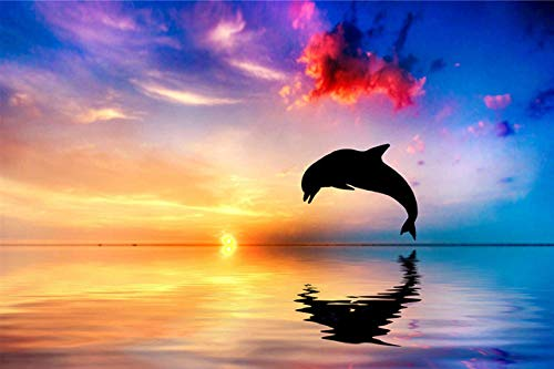 74Tdfc 1000 pieces of puzzle Whale jump in the sunset Adult children's educational wooden puzzle toy DIY kit gift home decoration 75X50Cm