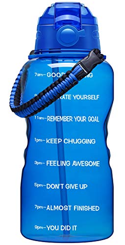 Fidus Large 1 Gallon Motivational Water Bottle with Paracord Handle & Removable Straw - BPA Free Leakproof Water Jug with Time Marker to Ensure You Drink Enough Water Throughout the Day-Deep Blue