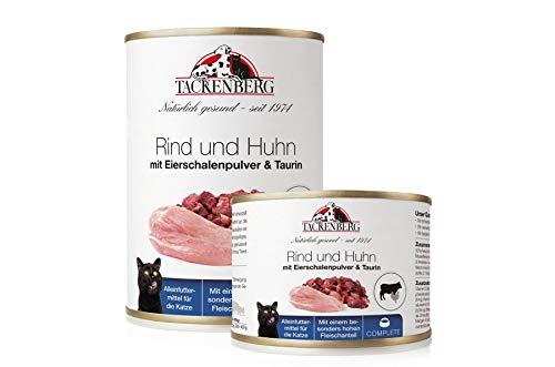 Tackenberg Katzenfutter, Nassfutter (Rind, Huhn, Eierschalenpulver, Taurin) Premium Dosenfutter