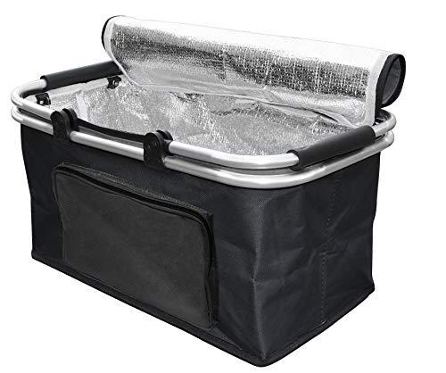 Cesta termica aislada, Plegable y Resistente Porta Alimentos con Asas de Aluminio MY Thermo Basket TO GO, Capacidad 28 litros, para Picnic, Playa, Barbacoa, con pies en la Parte Inferior Color Negro