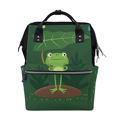 MERRYSUGAR Diaper Bag Backpack Cartoon Frog Green Baby Bag School Backpack Mommy Bag Large Multifunction Travel Bag