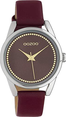 Oozoo Junioruhr Damenuhr mit Lederband Quarz Color Line 32 MM Aubergine/Aubergine JR310