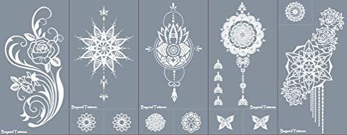 Mikronetz Tattoo Schablonen für Körperbemalung selbstklebend einfach und wiederverwendbar 5 Sheets set Rose