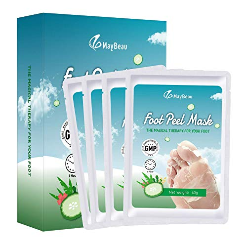 Fußmaske 4 Paar MayBeau Hornhaut Socken zu Entfernung Exfoliating Fußpflege Set mit Gurke Duft Fuß Hornhautentferner Fuß Peeling Maske Erhalten Samtweiche Babyfüße in 2-7 Tagen