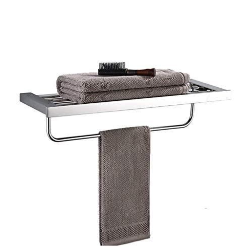 Toallero plegable de acero inoxidable con 3 barras para taladrar un toallero para cocina y aseo, espejo cromado, inoxidable, 60 x 21 x 11 cm