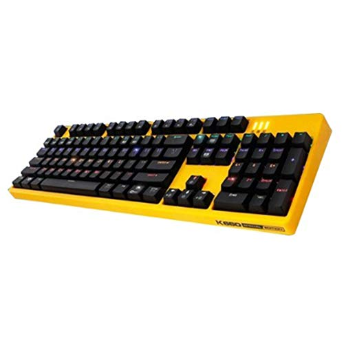 ABKO Gaming Water-Proof Keyboard K660 Premium Arc Edition Kailh Optical Switch Keyboard Rainbow LED, Quick Swap, Full Water Resistance, NKEY-Rollover Keyboard Cover (English/Korean Layout) (Yellow)