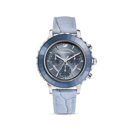 Swarovski Reloj Octea Lux Chrono, Correa de Piel, Azul, Acero Inoxidable