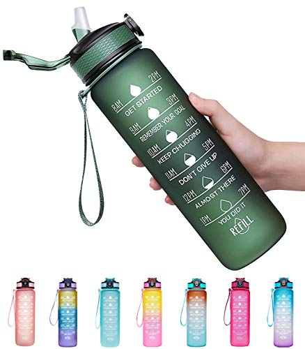 Giotto 32oz Large Leakproof BPA Free Drinking Water Bottle with Time Marker & Straw to...