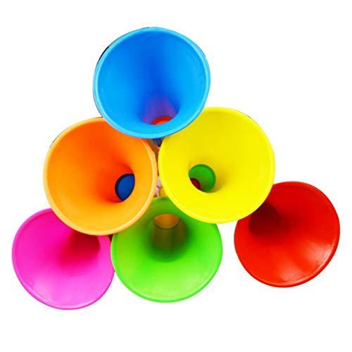 4 stks kleur willekeurige plastic telescopische auto speelgoed set, kinderen hoorn 3-sectie trompet hoorn speelgoed puzzel kinderen muziekinstrument