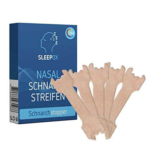 SLEEPOX Nasenpflaster hilft gegen Schnarchen - Antisnore Nasal Stripes als Anti Schnarch Mittel oder beim Sport - besser atmen und besser schlafen mit dem alternativen anti snoring device, 30 Stück