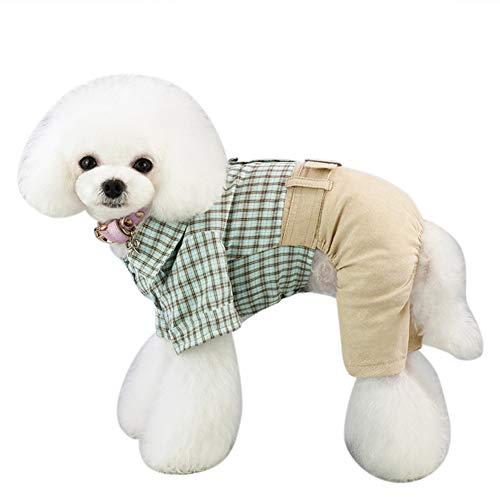 EisEyen overhemden, pullovers, broek met broek, jersey, kaki, combinaties voor honden, geruit, rood