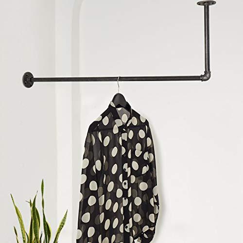 Various Kleiderstange in L-Form an Wand & Decke - div. Größen, z.B. 100 x 50 cm - Industrial Design Garderobenstange in der Ecke - nach Links o. rechts - schwarz, Metall