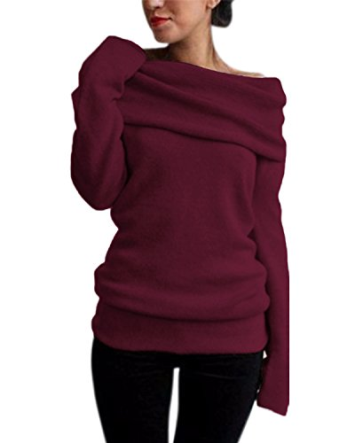 Style Dome Pull Femme Sexy Grande Taille Pull Oversize Femme Chaud avec Grand col Hauts Femme Chic Hiver Tops Femme Chic Chaud Pas Cher, Rouge, S,Rouge,S