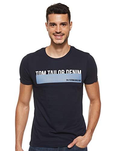 TOM TAILOR Denim Herren Print T-Shirt, Blau (10668), M