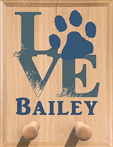 Broad Bay Personalized Dog Leash Holder Love with Paw Sign - Wall Mount Solid Wood Made in The USA