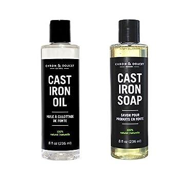 Caron Doucet - Cast Iron Care Bundle - Cast Iron Oil & Cast Iron Soap - 100% Plant Based Formulation - Helps Maintain Seasoning on All Cast Iron Cookware. (8oz Bullet)