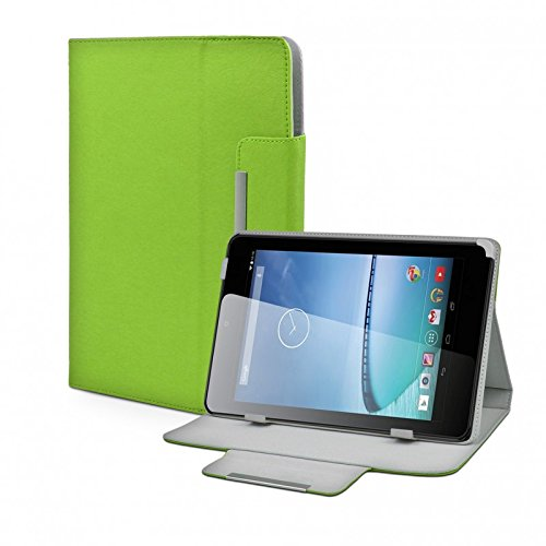 eFabrik Universal Tablet Hülle Tasche für Hisense Sero 7+ (7 Zoll) Schutztasche Zubehör Schutzhülle mit Aufsteller in hochwertiger Leder-Optik grün