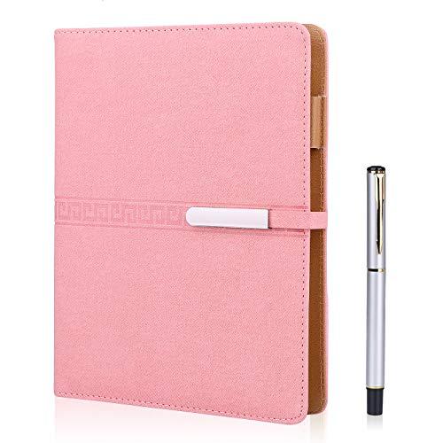 FOBOZONE Cuaderno de piel A5, Rellenable, 200 Páginas Gruesas, forro Clásico con Bolsillo y Soporte Para Bolígrafo (Rosado)
