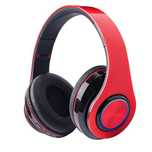 Auriculares Bluetooth sobre la Oreja, Auriculares inalámbricos, Almohadillas de proteína Plegables y cómodas con micrófono para el Trabajo de Viaje/PC con Cable/teléfonos celulares/TV - Rojo