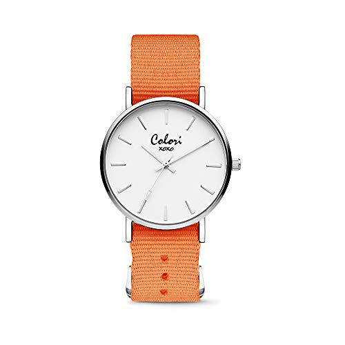 Colori XOXO 5-COL555 - Horloge - nato band - oranje - ø 36 mm