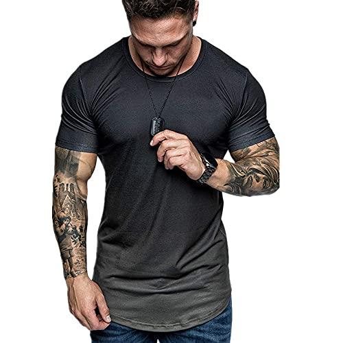 Camiseta Hombres Verano Slim Fit Cuello Redondo Gradiente Shirt Deportiva Hombre Estiramiento Absorbente Transpirable Creativo Shirt Muscular Gimnasio Hombres Manga Corta C-Black 5XL