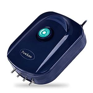 Powkoo Ultra Quiet High Efficient Adjustable Aquarium Air Pump 12W 4 x 240L/H Fish Tank Oxygen Air Pump 4 Outlets (4…