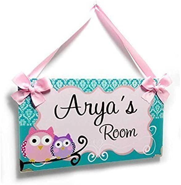 Name Plaque For Girls Bedroom Teal Damask Shabby Frame With Cute Owls