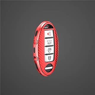 日産 リモートスマート TPU製カーボン調/柄 車キーケースカバー GTR GT-R R35 セレナ C27 エルグランド E52 リーフ AZE0 インフィニティQ45 (赤い)