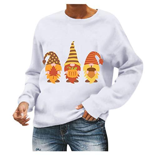 ReooLy suéter de Cuello Redondo con Estampado de Calabaza de Halloween para Mujer(B-Blanco,M)