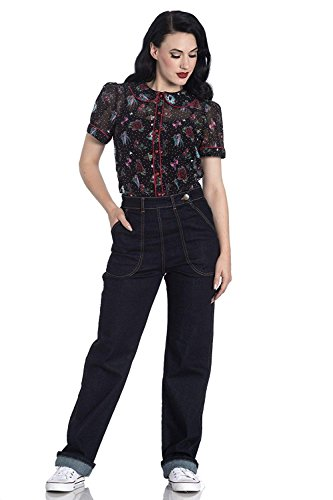 Hell Bunny Weston Denim Jeans 40er 50er Jahre Vintage Retro Rockabilly Hose - Marineblau (L)