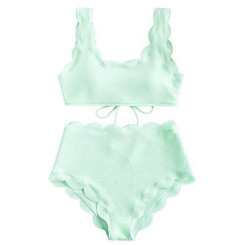 ZAFUL Women's Scalloped Textured Swimwear High Waisted Wide Strap Adjustable Back Lace-up Bikini Set Swimsuit Mint Green M