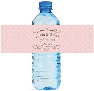 100 Pink Love Story Wedding Water Bottle Labels Engagement Bridal 8