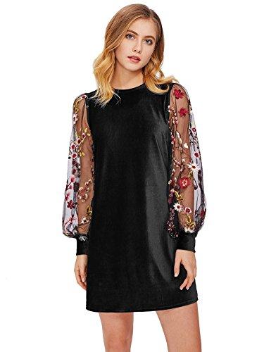 DIDK Women's Mesh Long Sleeve Pullover Tunic Dress Velvet Black Large