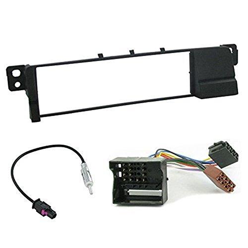 Sound-way Kit Montage Autoradio, Cadre Façade 1 DIN, Cable Adaptateur Connecteur ISO, Adaptateur Antenne, Compatible avec BMW Serie 3 E46