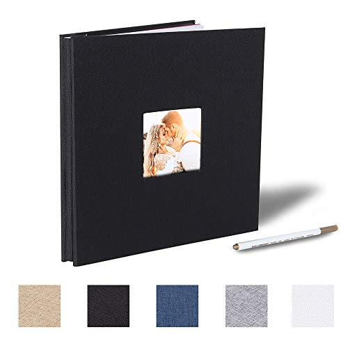 Self Adhesive Photo Album Magnetic Scrapbook Album 40 Magnetic Double Sided Pages Fabric Hardcover DIY Photo Album Length 11 x Width 10.6 (Inches) with A Metallic Pen (Black)