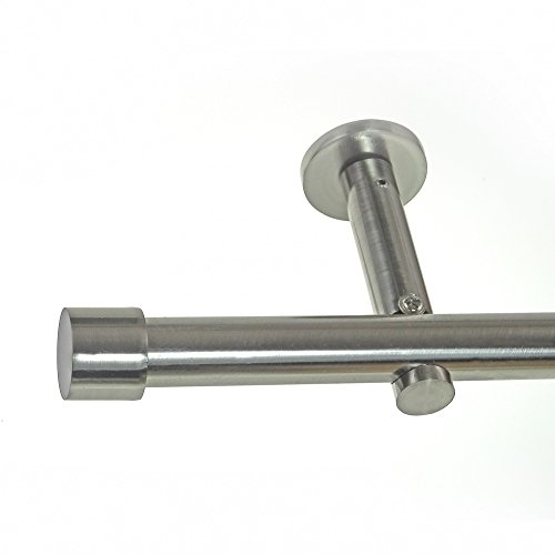 BASIT® Gardinenstange Set Edelstahl Look Metall Ø 19mm zur Wandbefestigung 1-lauf Kappe, Länge wählbar H19E61, Länge:180 cm