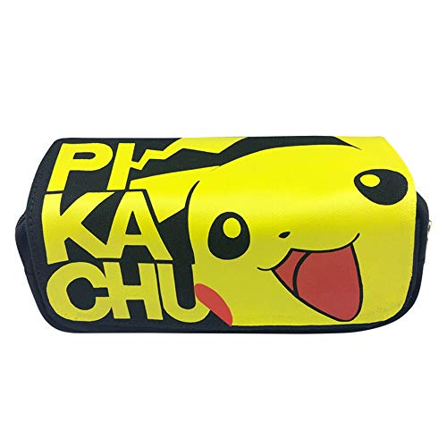 Pikachu Canvas Double Layer High Capacity Zipper Pencil Case Stationery Box for Student (Style 2)