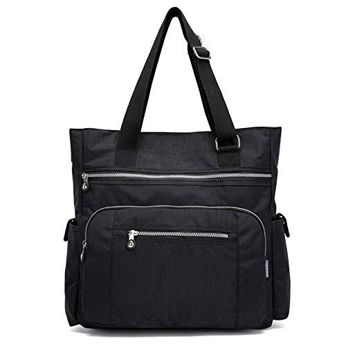 Bolso de hombro de nylon con múltiples bolsillos Bolso de viaje ligero de gran capacidad para las mujeres, negro (Negro), Talla única