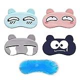 Eye Mask for Sleeping,Cute Sleep Mask for Girls Boys, Elasticity Headband Soft and Light for Insomnia Puffy Eyes Gray/Pink/Blue/Black Including gelpal【4 Pack】