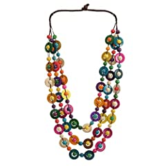 The necklace makes a great present or addition to your jewelry box. This item is manufactured with premium natural wooden beads and coconut shell for durable and long lasting use. It adds a certain elegant yet alluring element to any outfit and a bet...