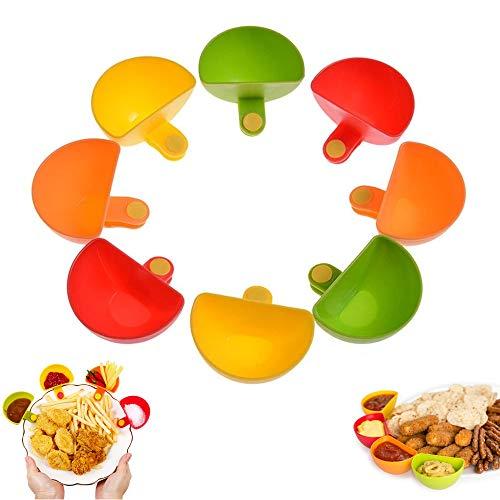 Plate Clip-on Houder Dip Clip Container Schaal voor Tomatensaus Zout Azijn Suiker Ketchup Specerijen Smaak Dip Bowl Specerijen Bowl Set van 8