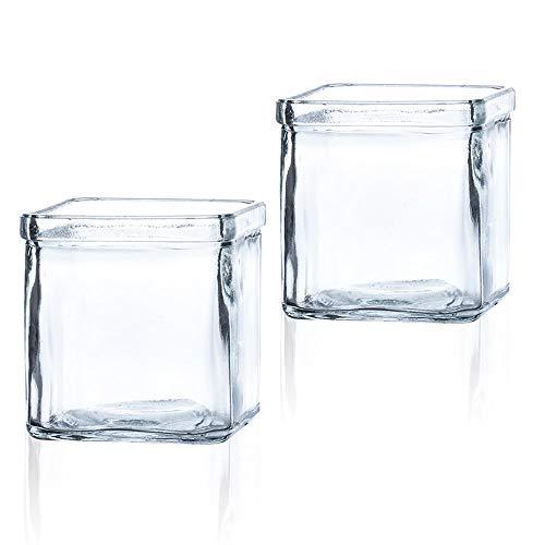 Matches21 - Jarrón de cristal pequeño, jarrones decorativos, portavelas, cristal transparente, rústico, cuadrado, 2 unidades, 7,5 cm